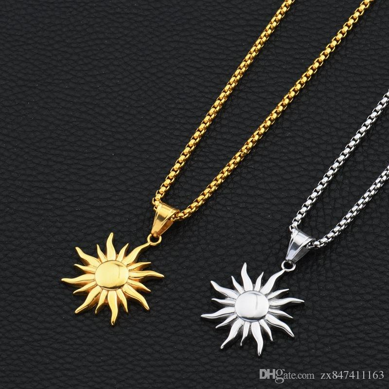 Wholesale fashion hip hop jewelry sun pendant necklaces for men 18k wholesale fashion hip hop jewelry sun pendant necklaces for men 18k gold plated 70cm long chain stainless steel design pendants and necklaces gold chains aloadofball Image collections