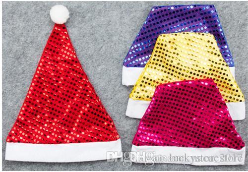 Compre Adornos Navideños Sombrero De Santa Claus Lentejuelas Oro Plata Y  Color Rojo Gorro Navideño Suministros De Navidad A  0.55 Del Naca store  0b9432afe7e