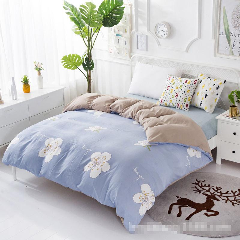 e243ec025e Four Piece Cotton Bed Set Works On The Theme Of Printed Striped Plaid  Sheets Bed Cover Quilt Cover Pillowcase Black And White Bedspread Blue And  White Duvet ...