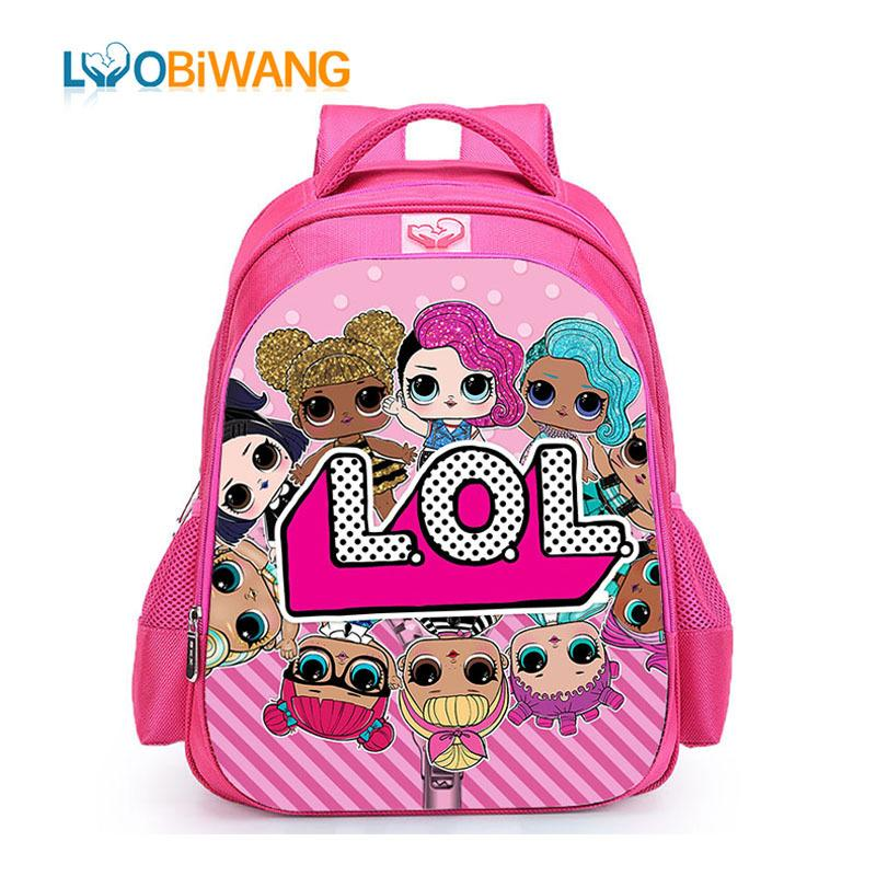 ad83c1b0cd0a LUOBIWANG Children LOL Dolls Baby School Backpack Lovely Pink School Bags  for Girls Orthopedic Backpack Kid Student Book Bags Y18110107 Online with  ...