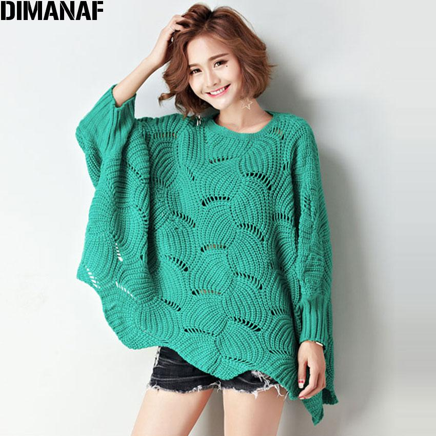371bfc958e8 DIMANAF Women Autumn Sweater Oversize Batwing Pullover Solid Cotton Plus  Size Female Fashion Large Green Knitting Casual Sweater