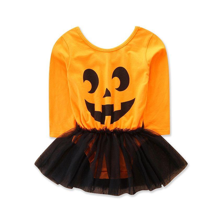 72601fe4fb32 2019 2018 Baby Girl Dress Newborn Girl Long Sleeve Funny Pumpkin ...