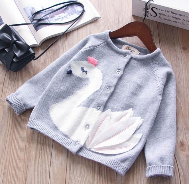 6cabc890ab91 Girl Kids Clothing Cardigan Sweaer Round Collar Swan Design Long ...