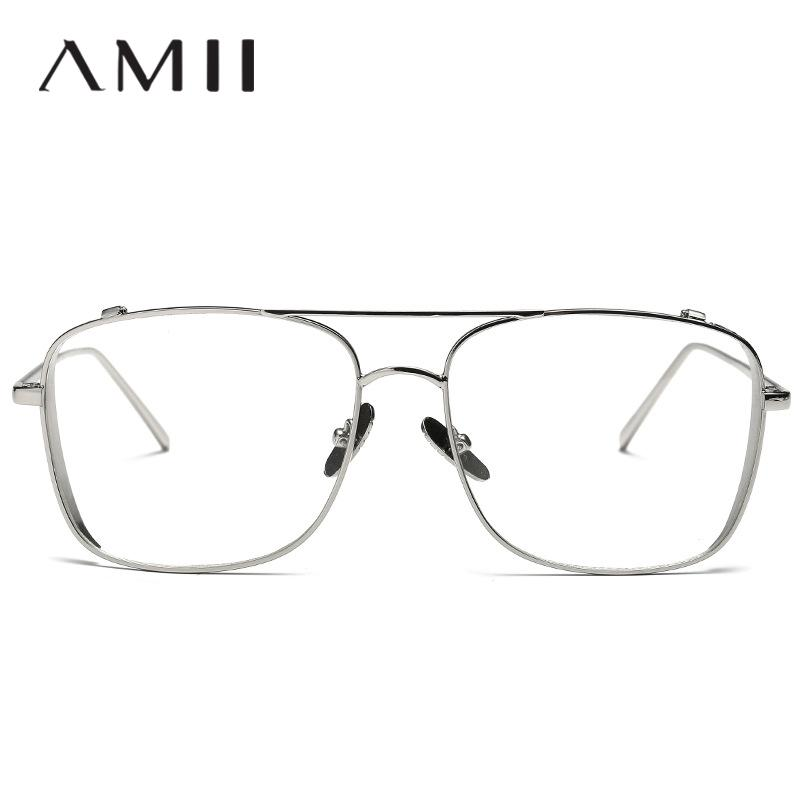d658ed933a09 2019 New Fashion Men Square Metal Optics Frame Clear Lens Eyeglasses ...
