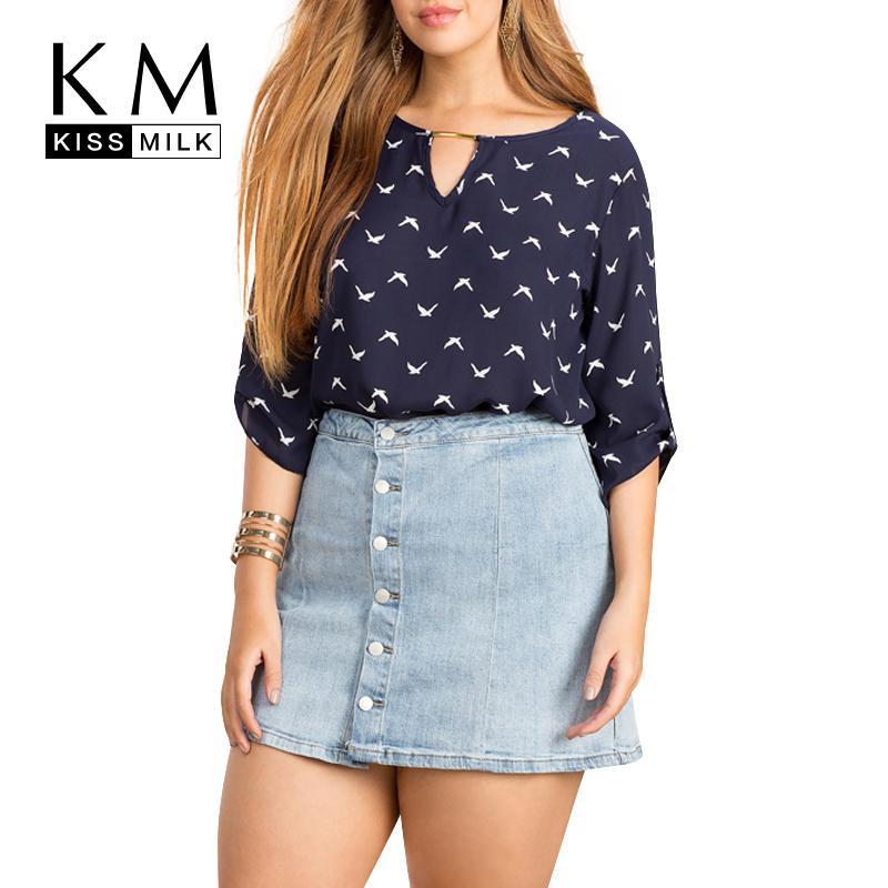 691c72e84434 Kissmilk 2018 Plus Size Womens Summer Fashion Bird Print Cut Out Shirts  Casual Loose Half Sleeve Chiffon Blouse Y1891302 UK 2019 From Zhengrui01