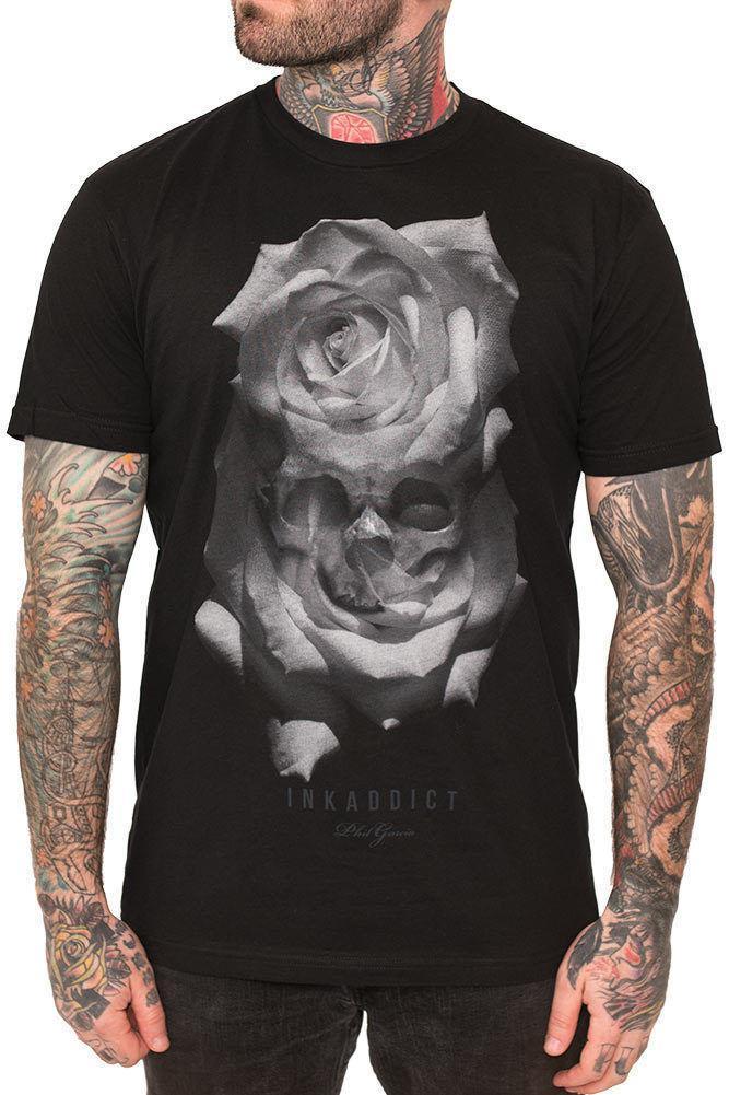 size 40 6b7b9 65cf0 Kreieren Sie individuelle T-Shirts Ink Addict Garcia Grey Roses Männer  T-Shirt Schwarzes Tattoo Art T-Shirt Männer T-Shirt mit Rundhalsausschnitt  und ...