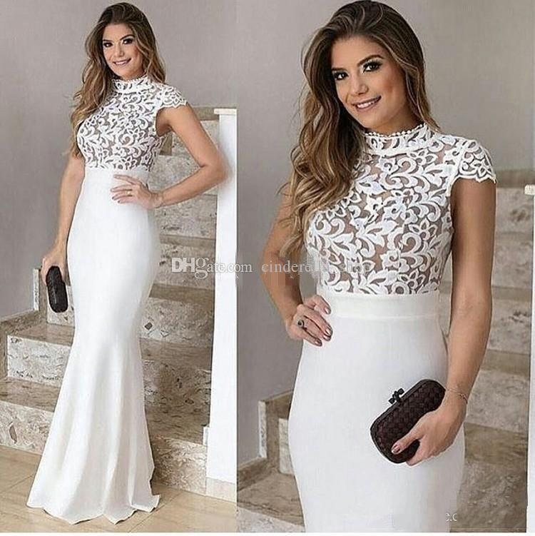Arabic White Lace Mermaid Evening Dresses 2018 High Neck Cap Sleeve Floor Length Illusion Long Formal Prom Red Carpet Gowns Cheap Plus Size