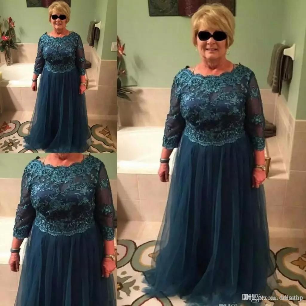 Elegant Pfauenblau Kleider für die Brautmutter Langarm Boot-Ausschnitt Tüll Bodenlang Kleider für die Brautmutter Übergrößen Abendkleider