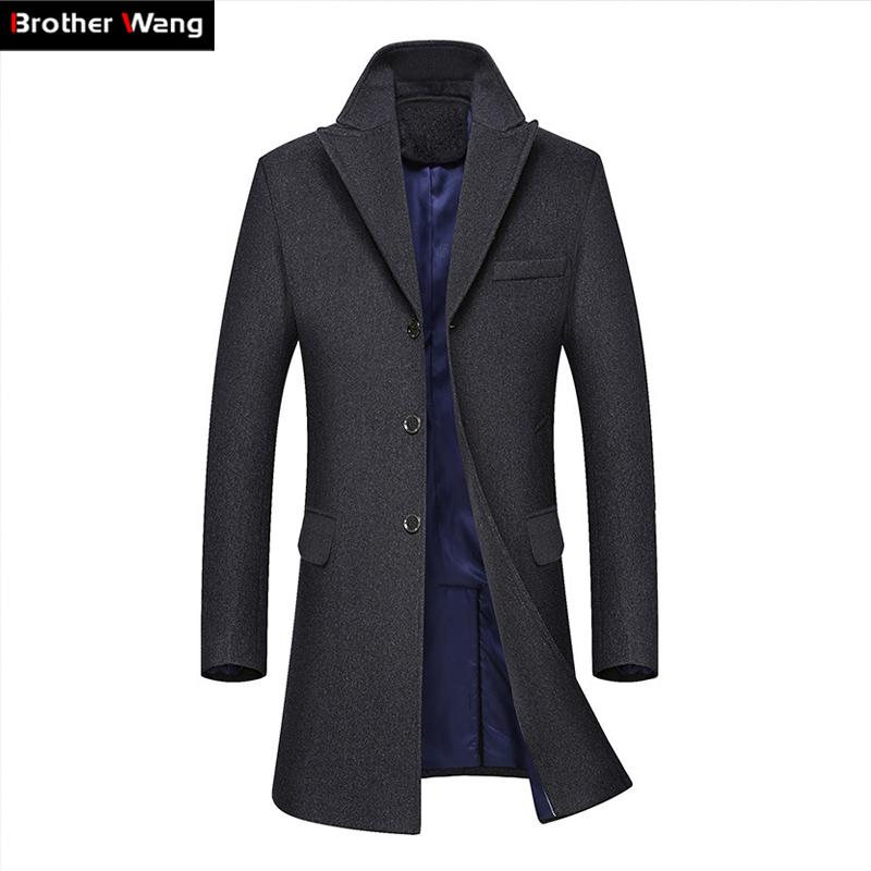 6090707611b Wholesale- Brother Wang Brand 2017 Autumn Winter New Men s Long Trench Coat  Fashion Business Casual Wool Slim Woolen Coat Jacket Male