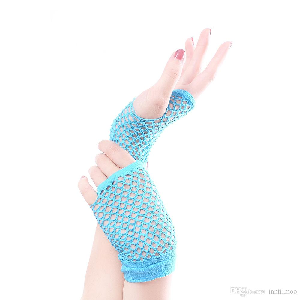 Short Fingerless Fishnet Gloves Ladies Fancy Dress 80'S Evening Party Gloves Neon Colors Girls Dance Burlesque Accessories