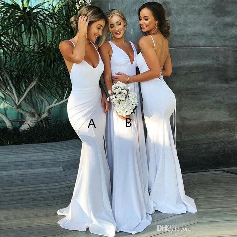 d6097ae3117 2018 Halter Mermaid Long Bridesmaid Dresses V Neck Ruched Satin Backless  Formal Evening Gowns Plus Size Maid Of Honor Gowns Champagne Bridesmaid  Dresses Uk ...