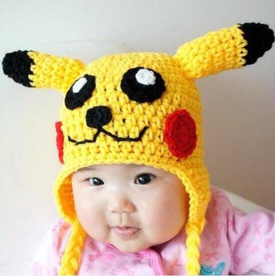 Großhandel Baby Crochet Strickmützen Winter Mütze Pikachu Design