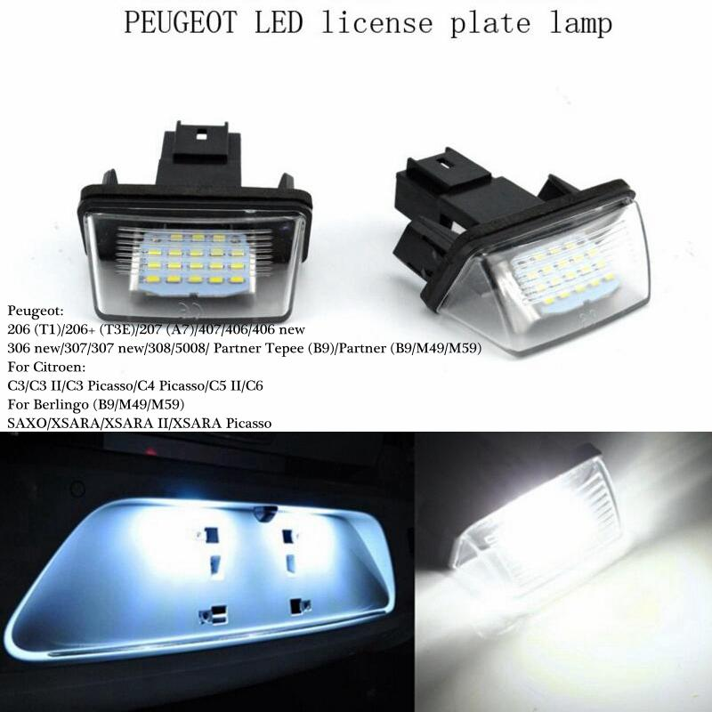 Super Lumineux / 12V 18 Led Licence Plaque d'immatriculation Ampoules Lumière de licence pour PEUGEOT 206 207 306 Citroen C3 Picasso C4 5 XSARA SAXO