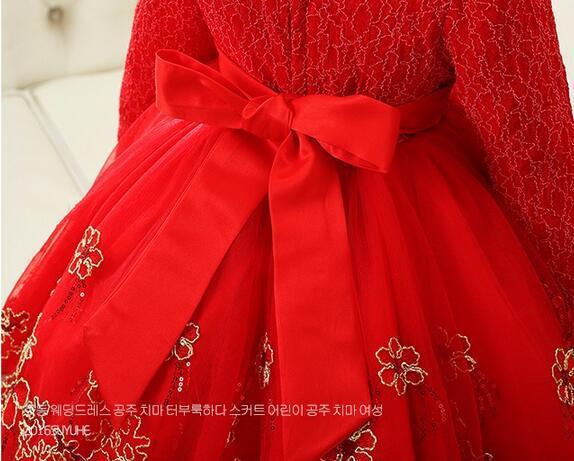 Retro tarzı sonbahar ve kış kız elbise kırmızı mor çiçek kız elbise düğün altın ipek nakış tarafı çocuk dans doğum günü dre
