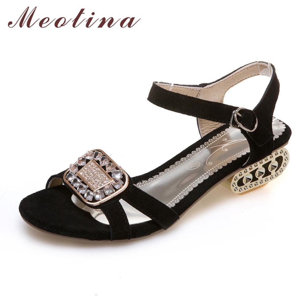 90da63ed973ac9 Meotina Women Sandals 2017 Summer Shoes Women Open Toe Crystal Chunky Heels  Sandals Rhinestone Shoes Black Big Size 12 44 45 46 Blue Shoes Cheap Sandals  ...
