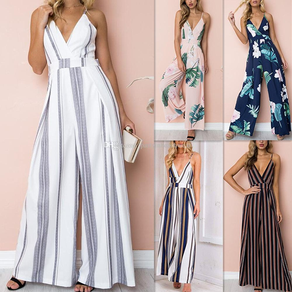 eef6b8d48f412 2019 Summer Fashion Jumpsuits Rompers Women Boho Bow Tropical Leaf Print V  Neck Overalls Sexy Party Bodysuit Jumpsuit Beach Bohemian Playsuit NEW From  ...