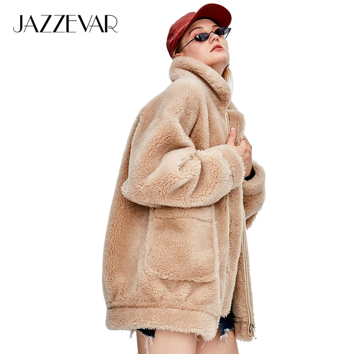 a3bc319fed1 JAZZEVAR 2018 Winter New Fashion Street Womens Teddy Bear Icon Coat Real  Sheep Fur Oversized Winter Jacket Thick Warm Outerwear S18101301 Ladies  Jackets ...
