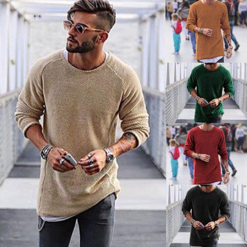 8097852c4 Compre Homens De Moda Masculina Camisa De Manga Longa Casual Slim Fit  Camisola De Malha De Huoxiang