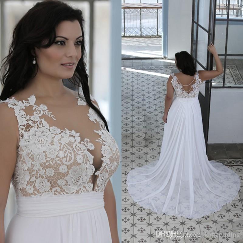 Discount 2018 Plus Size Beach Wedding Dresses A Line Sheer Bateau ...