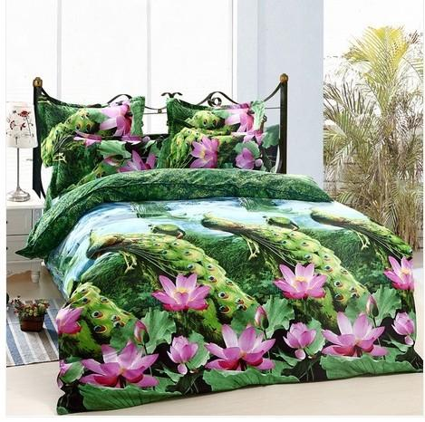 3d Bedclothes Lotus Flower Bedding Sets King Or Queen Reactive Print