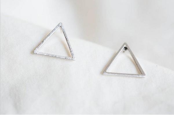 2018 Moda Üçgen çerçeve damızlık küpe Altın renk / gümüş kaplama / gül Altın renk saplama küpe toptan ücretsiz kargo