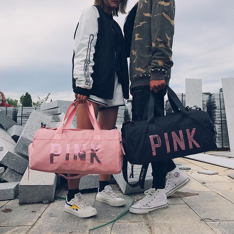 506da620b4ca Fashion Women Travel Handbag Female Gym Bag Nylon Waerproof Duffle Bag  Separate Space for Shoes Large Capacity for Outdoor Pink