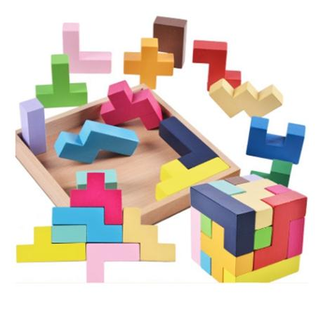 Tetris Wooden Puzzles For Children 2 4 Years Old 3d Puzzle Jigsaw Board Educational Toys For Kids Learning Games Fun Letter Toy