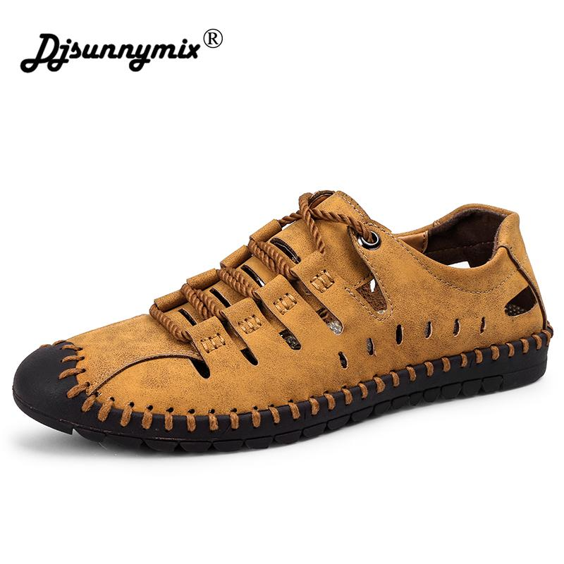 633d5c12fbdb DJSUNNYMIX Mens Sandals Genuine Leather Summer Shoes New Beach Men Casual  Shoes Outdoor Hole Sandals For Man Plus Size 38 46 Summer Shoes Purple Shoes  From ...