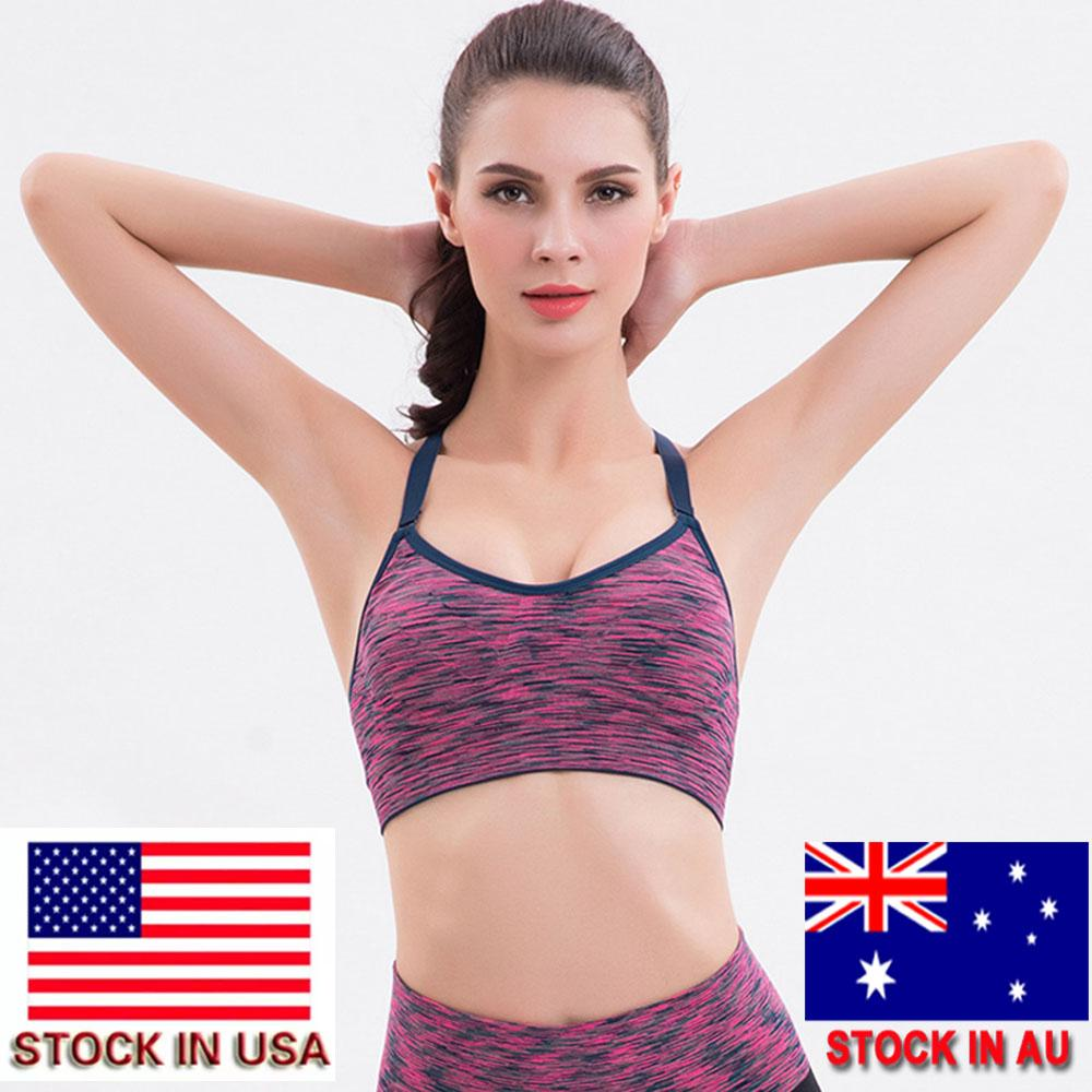 d5a07648f6ac3 2019 2018 Women Adjustable Spaghetti Straps Padded Top Fitness Yoga Sports  Bra For Running Gym Seamless Top Athletic Vest Stock In US From Qingbale