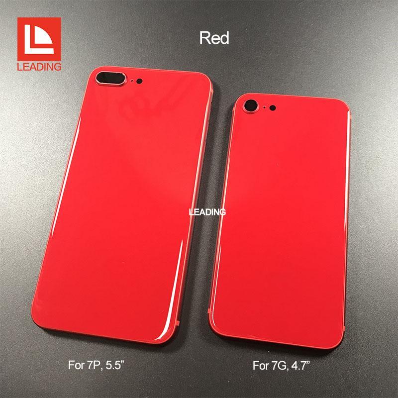 Für iphone 6 6p 6s 6sp 7 7p plus zurück gehäuse abdeckung wie iphone 8 stil metallglas rückseitige abdeckung ersatz mit knöpfen