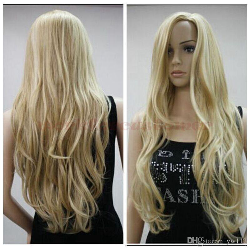 US STOCK Women S Blonde Wig Long Wavy Wig Curly Synthetic Wigs Cosplay Wigs  Wigs Online Cheap Synthetic Wigs From Yw112 082f54ca0