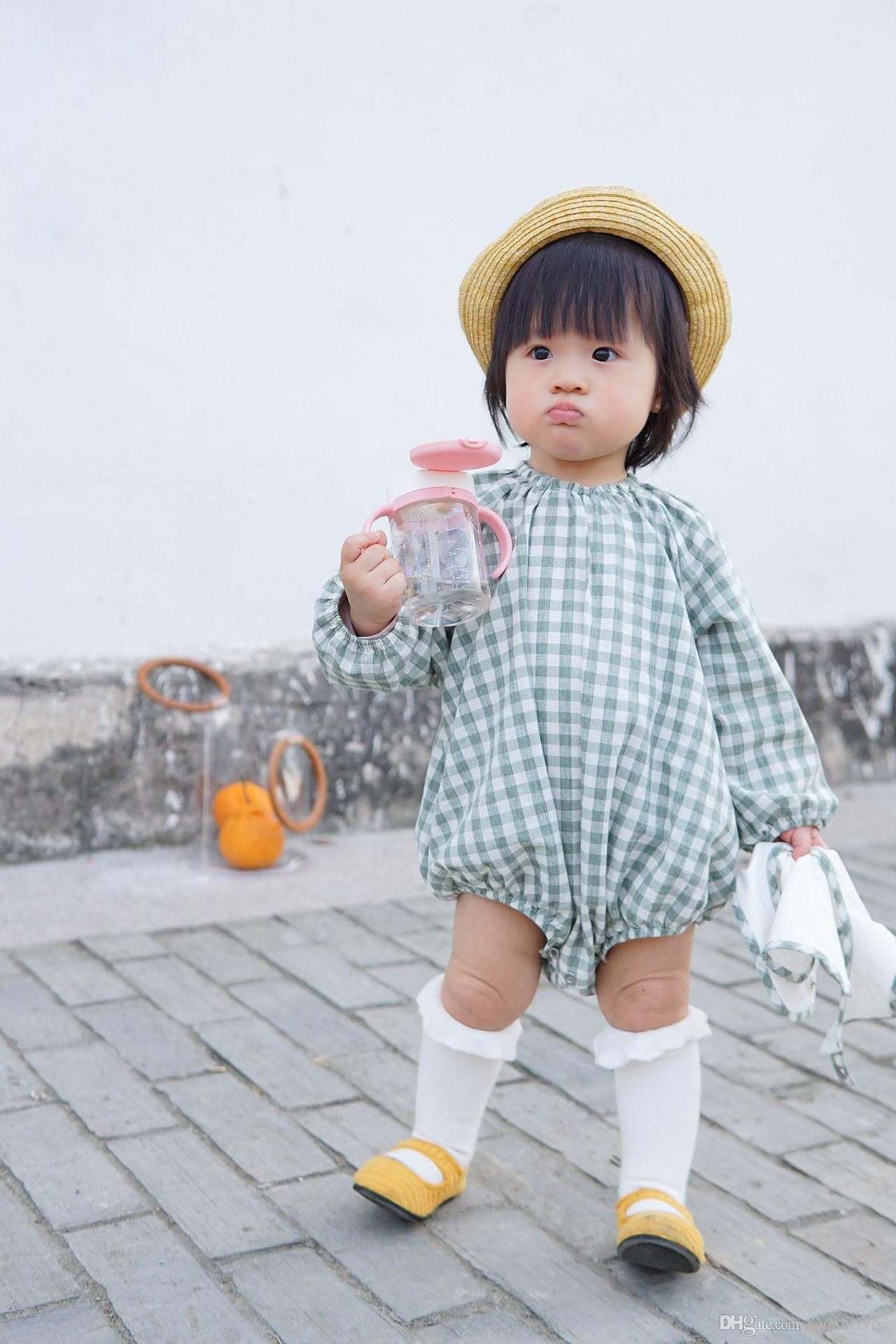 3740e8290a5c INS Little Kids Plaid Rompers Spring Autumn Baby Girls Round Collar Long  Sleeve Jumpsuits Infant Cotton Triangle Diapers Clothes Y6066 Infants  Falbala Fly ...