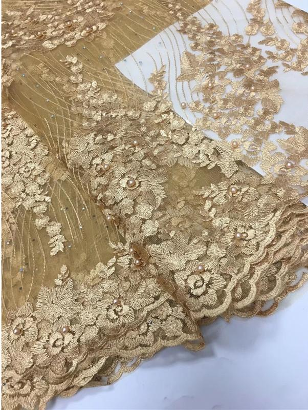 New arrival Sewing Lace Fabric with beads DIY High Quality french Latest Summer girl tulle Lace Dress Designs women party Dress