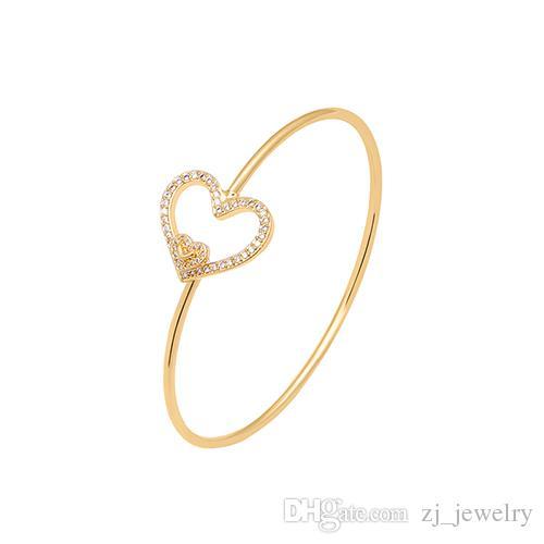 530a97a293f3 Compre Cristal De Lujo Cubic Zirconia Corazón Pulsera De Plata Oro Pulll  Pulsera Ajustable Brazaletes Brazalete Joyería De Moda Para Mujeres A  2.03  Del ...