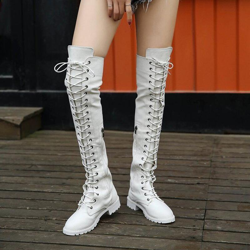 55ada652fa2 Sexy Lace Up Over Knee Boots Women Rome Boots Women Flats Shoes Suede Long  Botas Winter Thigh High White Shoe Boots Over Knee Boots From Ajshoesstore