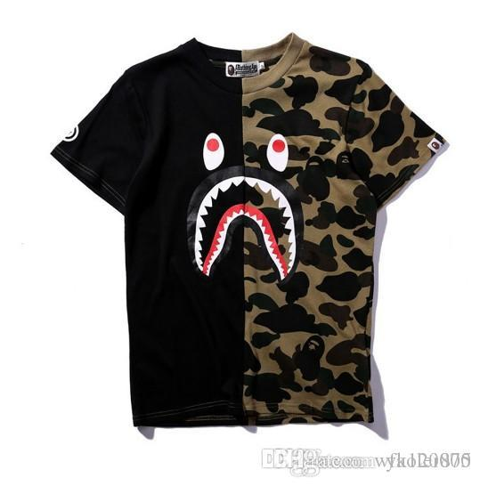 aca6f938d488e Tide Brand APE Shark Head Stitching Camouflage T Shirt Summer Classic Two  Color Dark Green Purple Blue Round Neck Men And Women Black Shirts Long  Sleeve ...