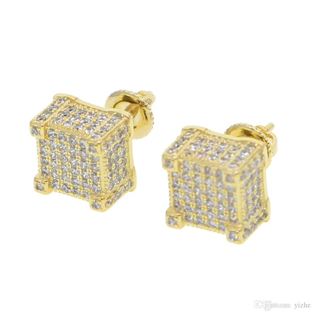 2b653c9f0 2019 Geometric Micro Pave Cz Screwback Earring For Girl Women Men Boy Lab  Diamond Hiphop Clear Cz Sparking Bling Screwback Studs Ear Jewelry From  Yizhe, ...