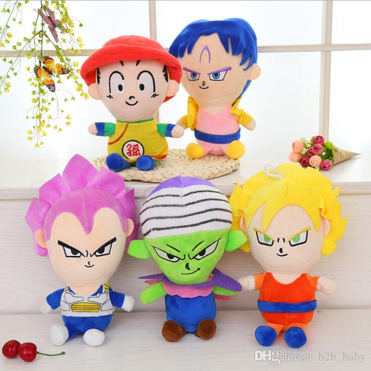 5 Styles 27cm Dragon Ball Z Plush Toys Son Goku Son Gohan Vegeta Dragon Ball Plush Pendant Toys Figure Dolls CCA6917 50pcs