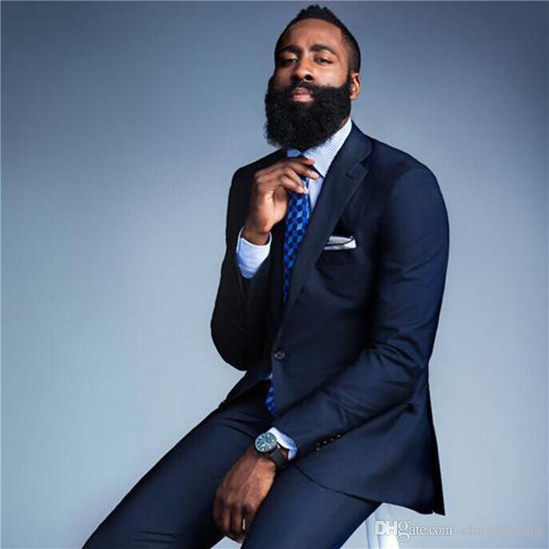 Custom Slim Fit Groom Tuxedos 2018 Men Suits Navy Blue Groomsman Bridegroom Wedding Suits Prom SetJacket+Pants