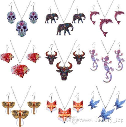 Fashion Jewelry Sets Elephant Wing Dolphin Sea Horse Starfish Animal Earrings Necklace Set For Women Alloy Necklace Jewelry Gift