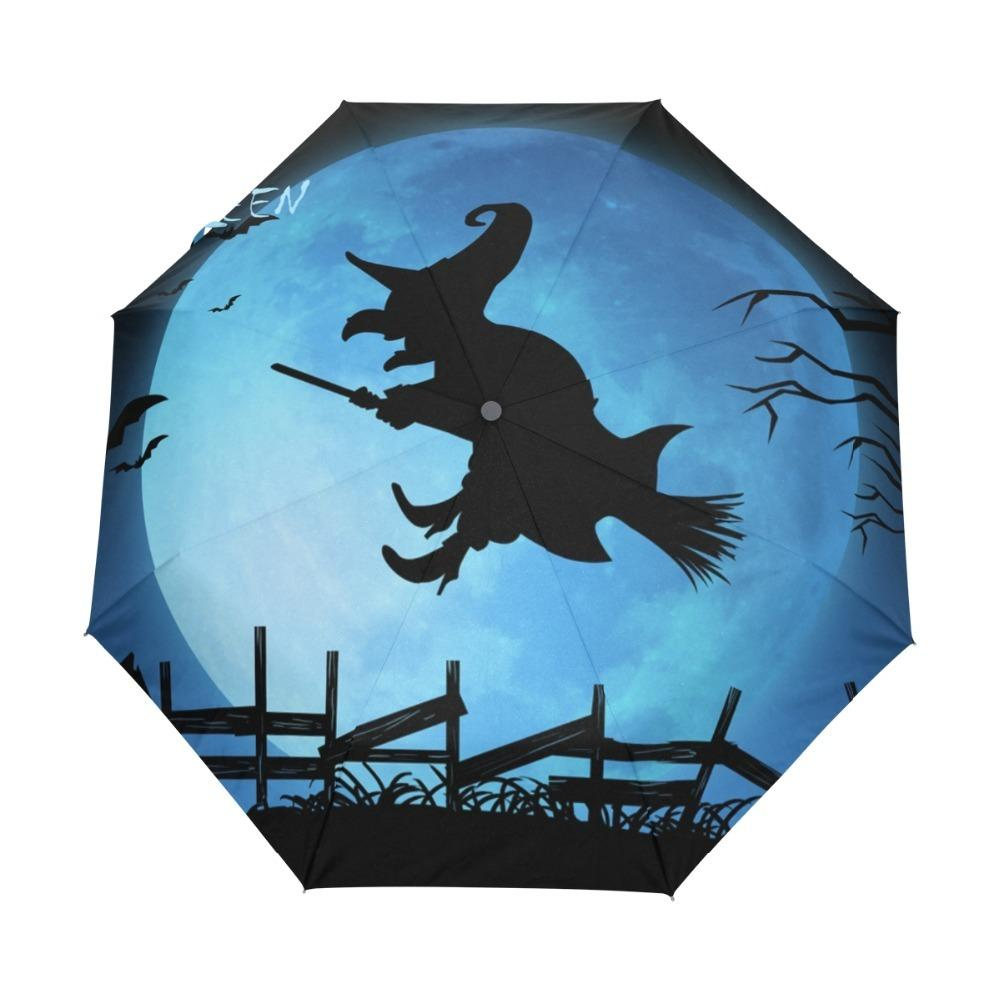 Happy Halloween Witch Blues Moon Custom Portable Folding Umbrella Travel Design Rain and Sun Beach Umbrellas Hat Unique Parasol