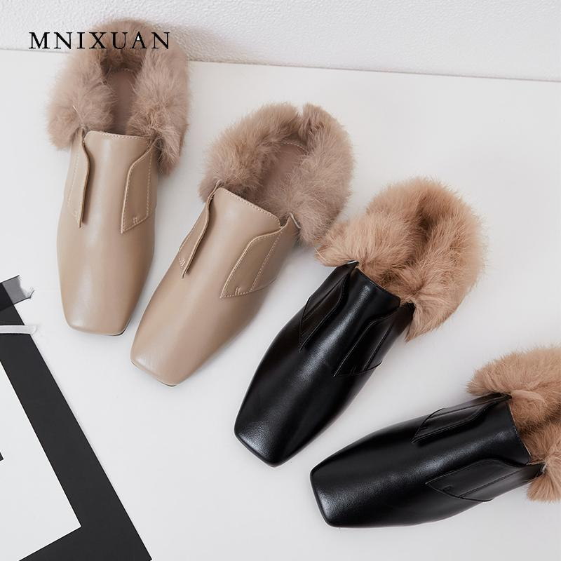 ef8935f2115 MNIXUAN Europe Mules Shoes Women With Fur Ladies Flats Heels 2018 Winter  New Square Toe Genuine Leather Casual No Heel Slippers Shoe Shops Brown  Shoes From ...