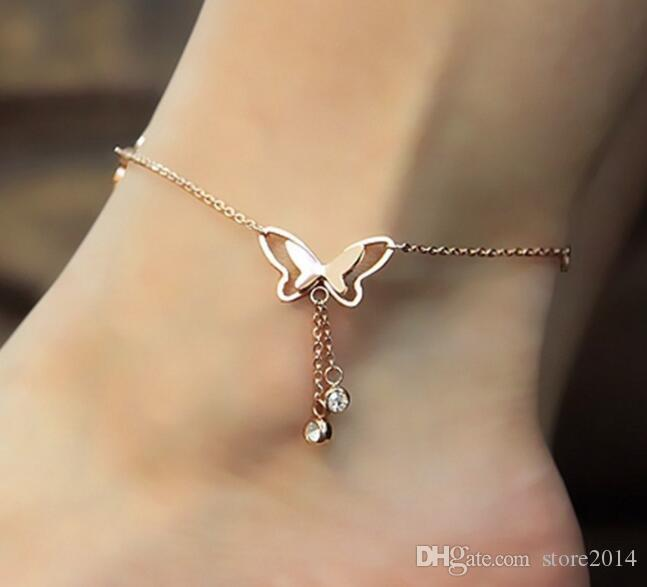 New Hollow Out Butterfly Anklet With Rhinestone Tassel Anklets Fashion Summer Beach Anklet Bracelet Foot Jewelry