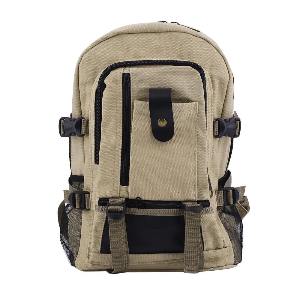 57451d3f04 Kattee Mens Canvas Leather Hiking Travel Backpack Rucksack School ...