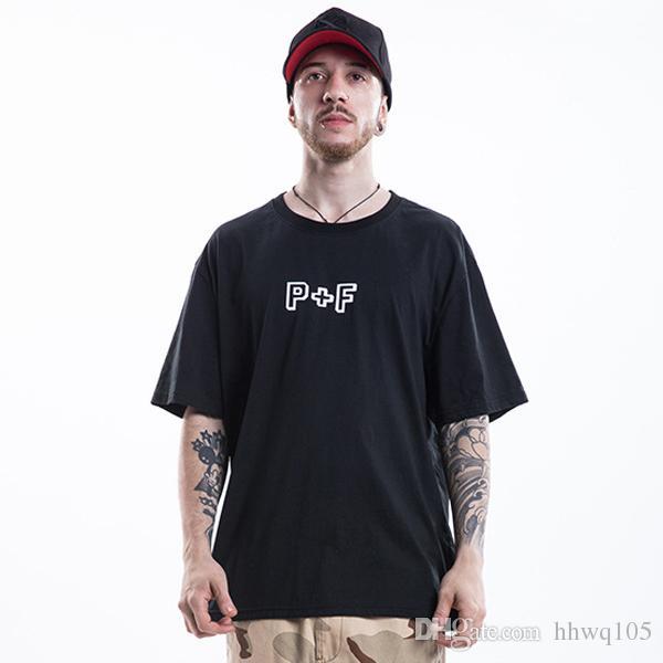 585acd7f6c4 2018 Summer P+F Print T Shirt Fashion Urban Clothes White Black 100% Cotton  Casual Tees Men Women Lovers Club Tee TXH0310 Short Sleeve Shirts Cheap  Shirts ...