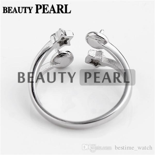 HOPEARL Jewelry Two Star Ring Base with 2 Blanks 925 Silver Pearl Jewellery Making