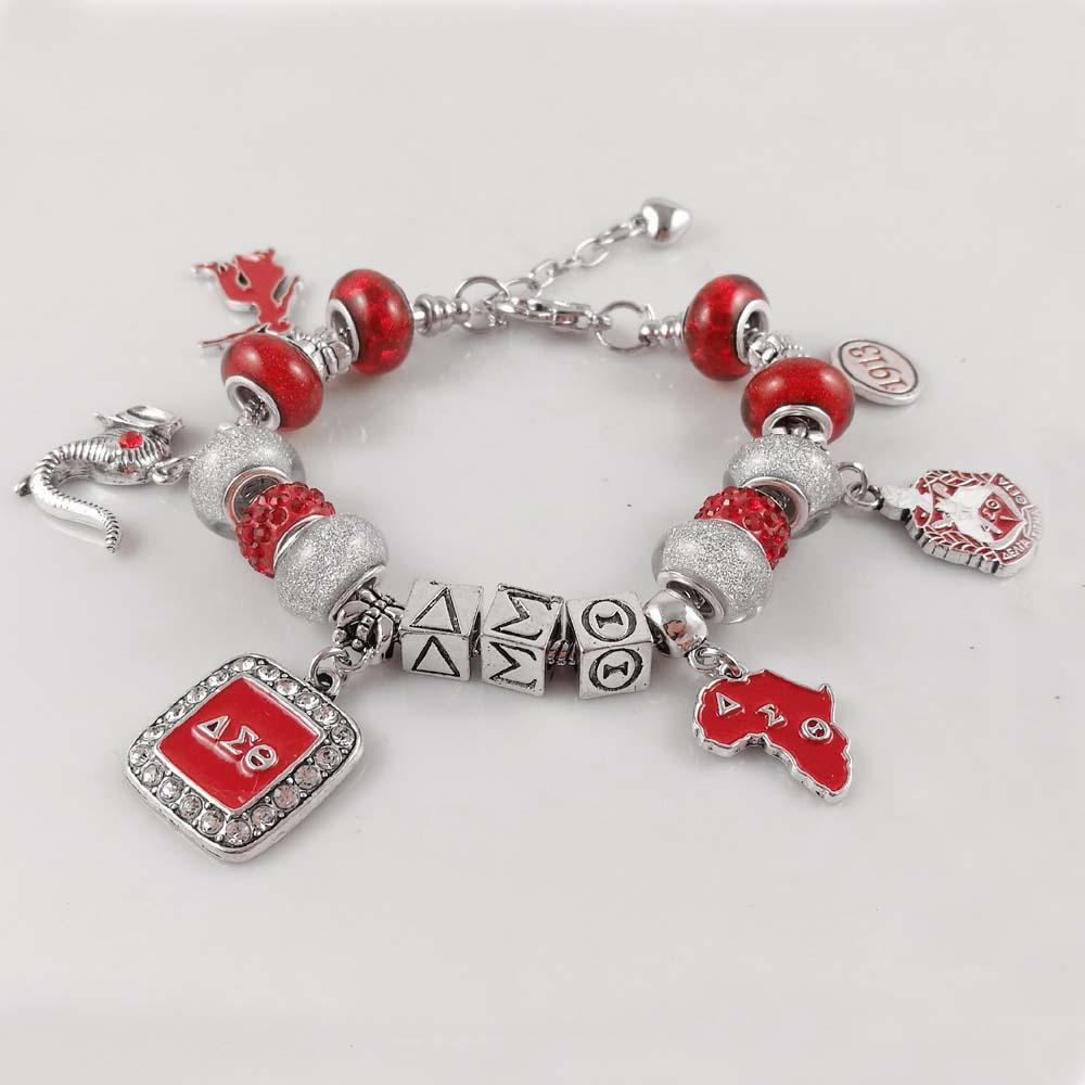 634a80aa7 Red Bead Delta Sigma Theta Sorority Founder Lady 1913 Elephant Charm DST  Bracelet Jewelry Charm Bracelets Silver Charm Bracelet From Whatless, ...