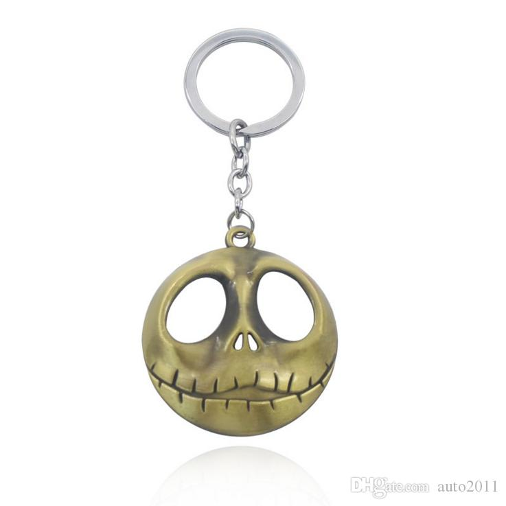 3 color Cute Christmas Keychains Nightmare Before Christmas Jack Smiley Key  Rings Cell Phone Straps Charms Car Keyrings Bronze Silver
