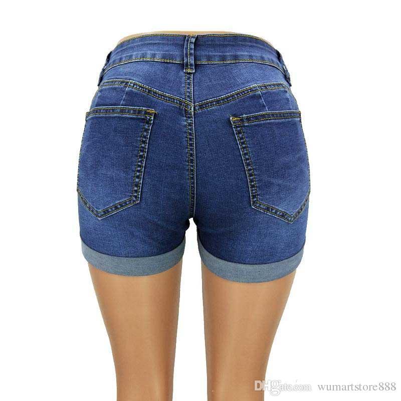 Pantalones cortos de mezclilla sexy para mujer Tallas grandes Pantalones cortos de bolsillo Cintura alta Pantalones cortos Pantalones cortos Nueva moda de verano ropa para mujer