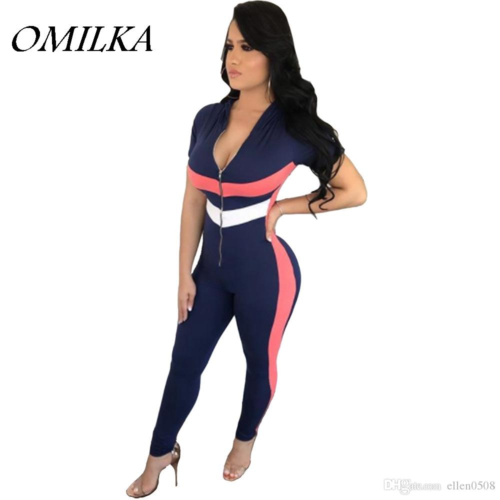 OMILKA 2018 Summer Women Short Sleeve Front Zipper Hooded Rompers And Jumpsuits  Sexy Black Blue Patchwork Club Party Overalls Hooded Jumpsuit Front Zipper  ... 5de1160b6
